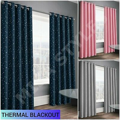 Thermal Stars Blackout Eyelet Ring Top Curtains Pair Kids Boys Girls Bedroom