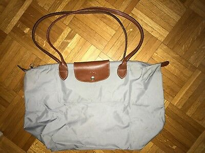 d350b867d36 Authentic Longchamp Le Pliage Grey Tote Bag size L Large Made in France Used