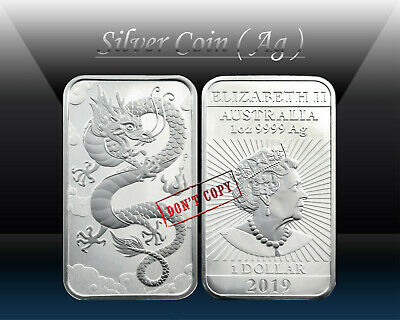 AUSTRALIA 1 DOLLAR 2019 ( ORIENTAL DRAGON - Rectangular ) 1oz SILVER coin * UNC