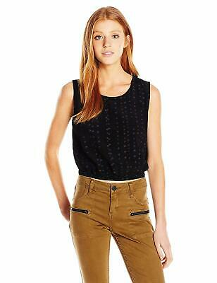 98a316b0741 RVCA WOMENS CROPPED Black Top Medium Graphic Tee Loose Baggy Style ...