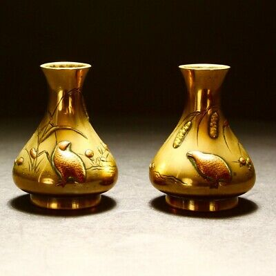 Antique Japanese Pair Meiji Bronze Mixed Metal Quail Vases 19th Century