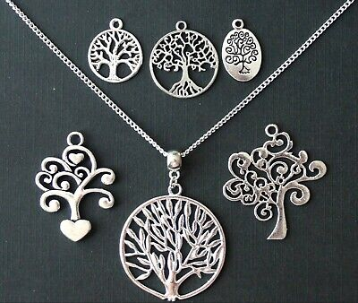 BIG LARGE 100cm Very Long Family Tree of Life Pendant Necklace Silver Chain Boho