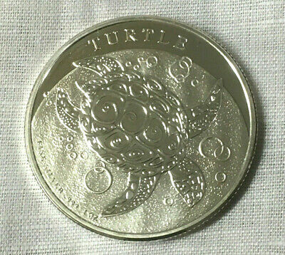 1 oz. 2014 Niue New Zealand Hawksbill Turtle .999 Silver 2 Dollars - Coin Round