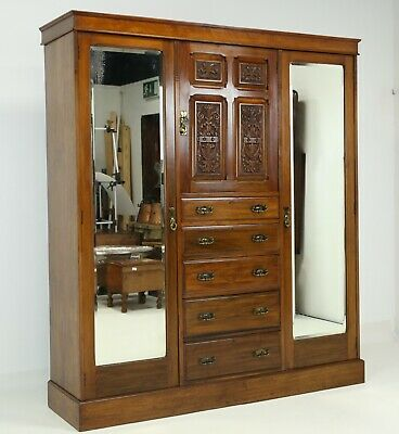 Large Victorian Compactum Central Cupboard Drawers Flanked By Mirrored Wardrobes
