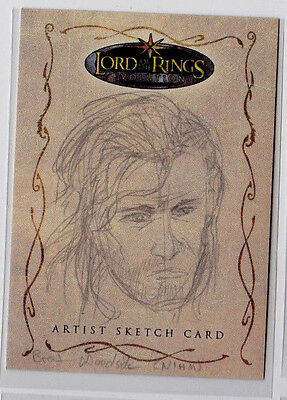 Aragorn LOTR Lord of the Rings Evolution Topps Sketch Card by Brent Woodside 1/1