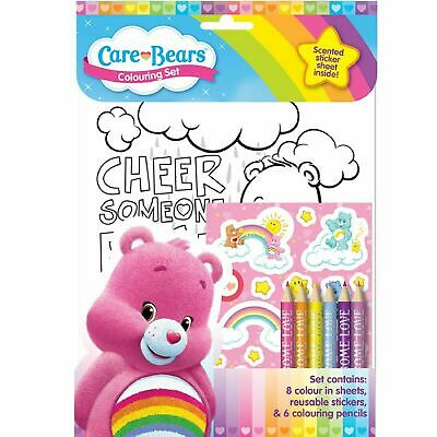 Care Bears Colouring Set Scented Sticker Sheet Pencil Crayons Art Craft Girls