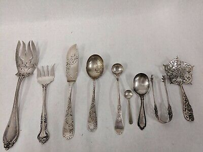 Mixed Lot Of 9 Antique Sterling Silver Flatware Pieces Reed & Barton Towle 216G