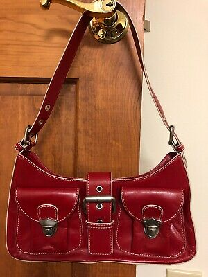 HYPE RED Glazed Leather Hobo Purse Shoulder Bag Silver Trim Buckles S  99 8e035f536a80e