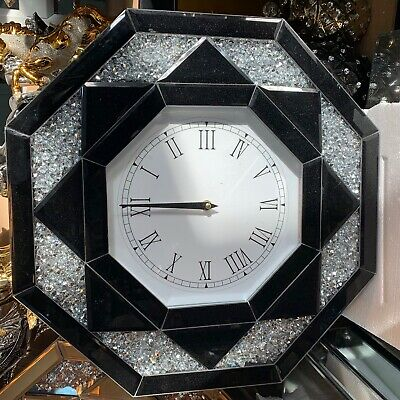 Black Octagonal Wall Clock Diamond Crush Sparkly Mirrored Large Bevelled VEN