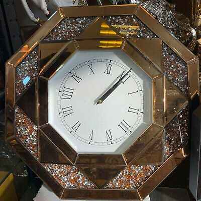 Brown Octagonal Wall Clock Diamond Crush Sparkly Mirrored Large Bevelled VEN