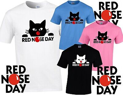 RED NOSE DAY 2019 Comic Relief FUNNY CAT CHILD'S / TEEN'S T SHIRT, LIMITED STOCK
