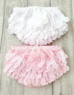 Baby Girls Lace Frilly Knickers - Frilly Pants Pink & White ☆