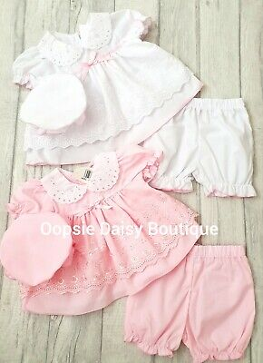 Baby Girls Gorgeous White & Pink Broderie Anglaise Dress Set Bloomers & Bonnet