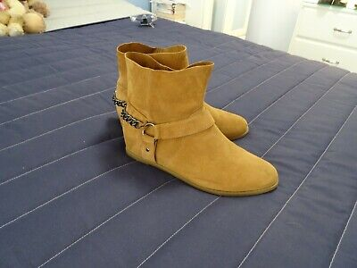 'next' Tan Suede Flat Ankle Boots Size 6 - Pull On Style - Immaculate Condition