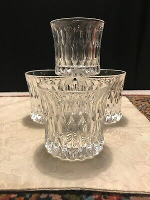 """Cut Crystal Double Old Fashioned Beverage Glasses 3.5"""" Set of 4  Heavy Weght EUC"""