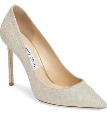 7131d730c073 NEW JIMMY CHOO ROMY Pointy Toe Pump Heel Shoes Platinum Ice Glitter ...