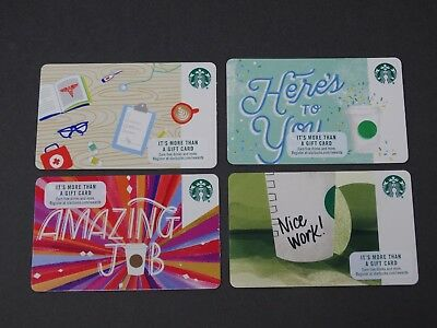 Starbucks 4 Different New 2018 Corporate Cards - New, never swiped - pin intact