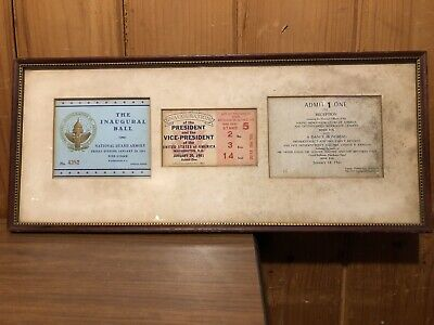 John F. Kennedy JFK 1961 Inauguration Parade Ball & Reception Framed Tickets WOW