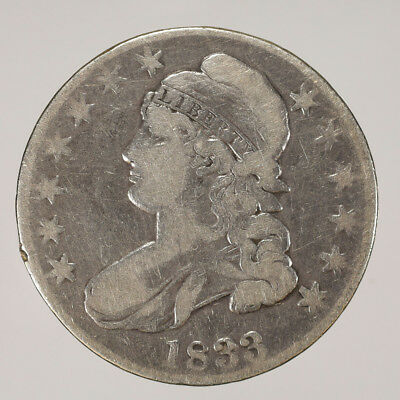 1833 50c CAPPED BUST HALF DOLLAR - LETTERED EDGE - LOT#H028