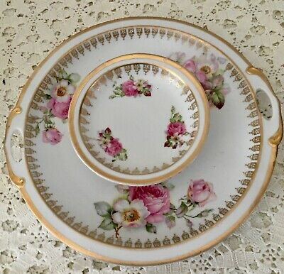 M W Germany Two Tier Handles Serving Dish Hand Painted  Pink Flowers Gold Trim