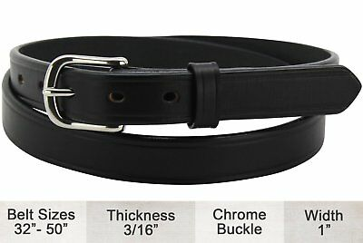 Black Creased Edge Bullhide Dress One Inch Wide Belt Quality USA Handcrafted