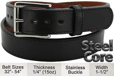 Black Stitched Steel Core Max Thickness Bullhide Gun Belt Quality USA Handcrafte