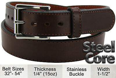 Brown Stitched Steel Core Max Thickness Bullhide Gun Belt Quality USA Handcrafte