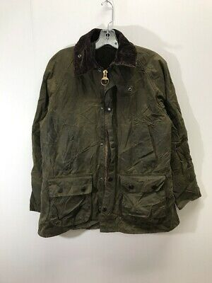 Vintage Barbour Classic Bedale Waxed Cotton Jacket Coat Green w/ Inner Lining