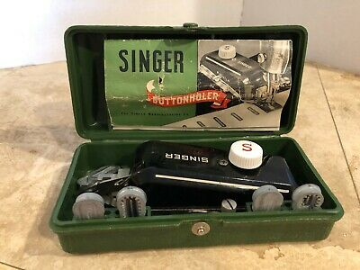Vintage Singer Sewing Machine Buttonhole Attachment #160506 in Green Case