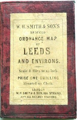 Map LEEDS & ENVIRONS by W.H. SMITH 4 miles to inch c.1890