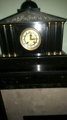 Beautiful Victorian antique large French chiming slate mantle clock