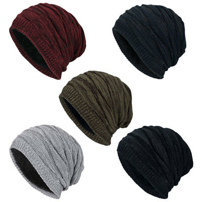 918f44fb PURPLE MENS? WOMENS KNIT FLEECE Lined Beanie Hat Cap Warm Winter ...
