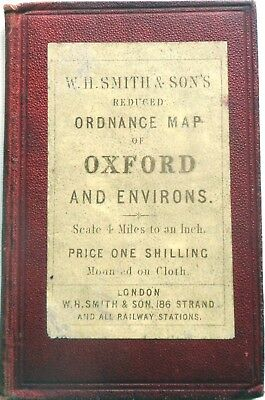 Map OXFORD & ENVIRONS by W.H. SMITH 4 miles to inch c.1890