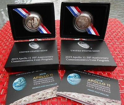 (2 Coin) 2019 S & D Apollo 11 50th Anniversary Proof/Uncir Half Dollar 19CF/19CE