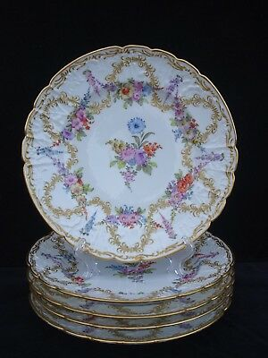 5 Antique Dresden Hand-Painted Cabinet Plates Multi-Floral, Raised Gold Scrolls