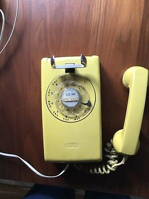 Vintage 1984 Western Electric Yellow Rotary Dial Wall Phone