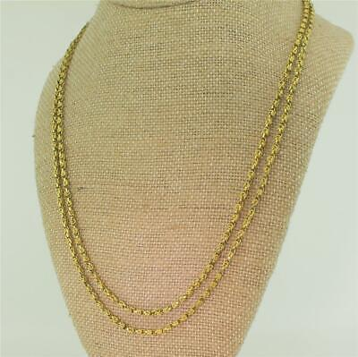 VICTORIAN 42 INCH YELLOW GOLD LONGAURD CHAIN - 17k Gold - c 1850