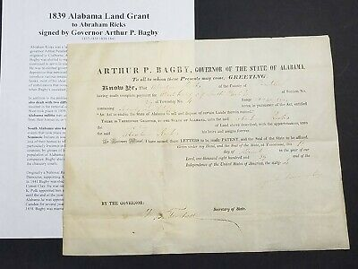 1839 Land Grant Signed by Alabama Governor Arthur P. Bagby