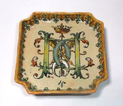 Faience Pin Dish signed by J Tortat Blois Monogram - Initials & Crown design