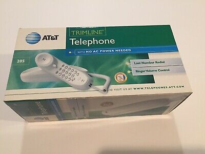 Retro AT&T Trimline 205 Touchtone Telephone WHITE Complete New & Sealed NIB