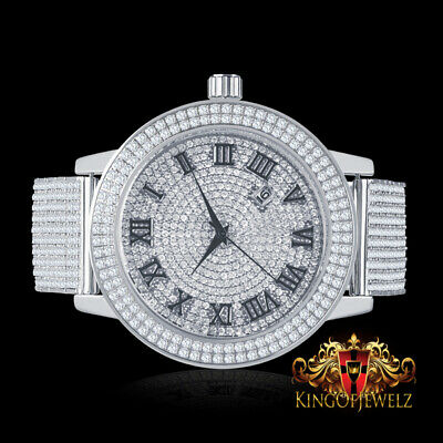 Iced Out Men's Custom Roman Face Numeral Simulated Diamond White Gold Watch Band