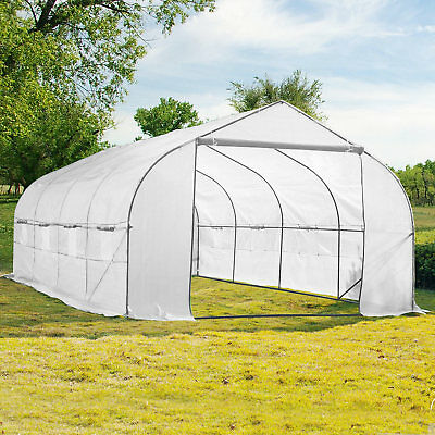 Garden Greenhouse Walk-In Green Hot Plant House Shed Storage PE Cover 20ft x 10'