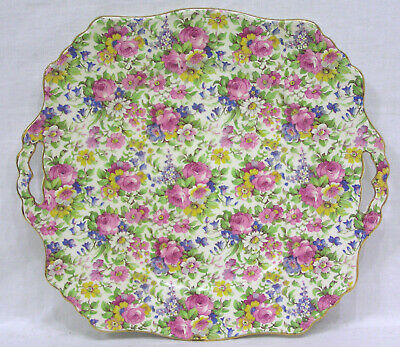 Vintage Chintz Summertime Pattern Handled Tray Wright Tyndale England