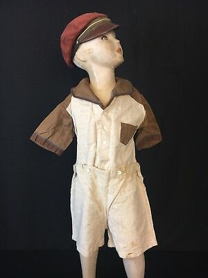 VTG 1930's Art Deco Girls Boys Children's Clothes 2 Pc Shorts & Shirt Romper Set