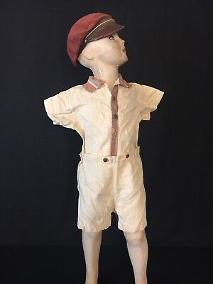 VTG 1930's Art Deco Girls Boys Children's Clothes 2 Pc Shorts & Shirt Romper