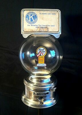 Vintage 1950's 60's Classic Ford Penny Gumball Machine Glass Globe & Pedestal