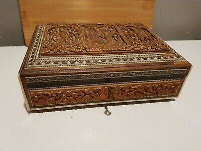Antique Indian inlaid Carved Box