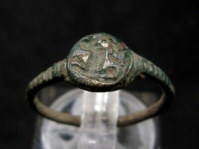 VERY RARE ROMAN INTAGLIO SEAL BRONZE RING, STAG or DEER IMAGE+++