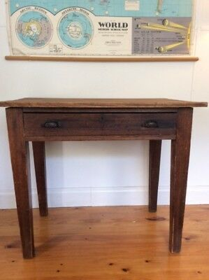 Antique rustic timber desk with drawer - pick up only