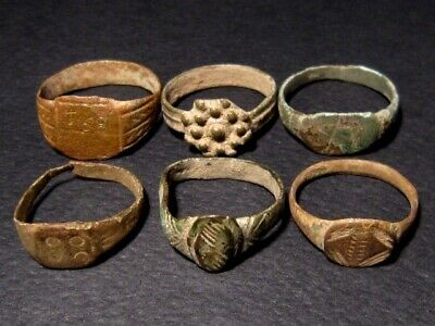 LOT of 6 pcs. ANCIENT ROMAN, BYZANTINE AND MEDIEVAL FINGER RINGS+++